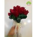 دسته گل ساقدوش رز قرمز کد DF08404