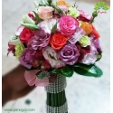 دسته گل عروس با گلهای بهاری کد DF08604