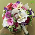 دسته گل عروس با گلهای رنگی کد DF09604