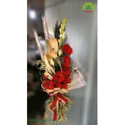 دسته گل سفید و قرمز لوکس کد DF02103