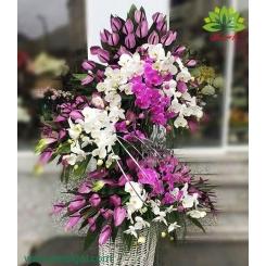 سبد گل پایه دار دو طبقه مجلسی کد DF06402
