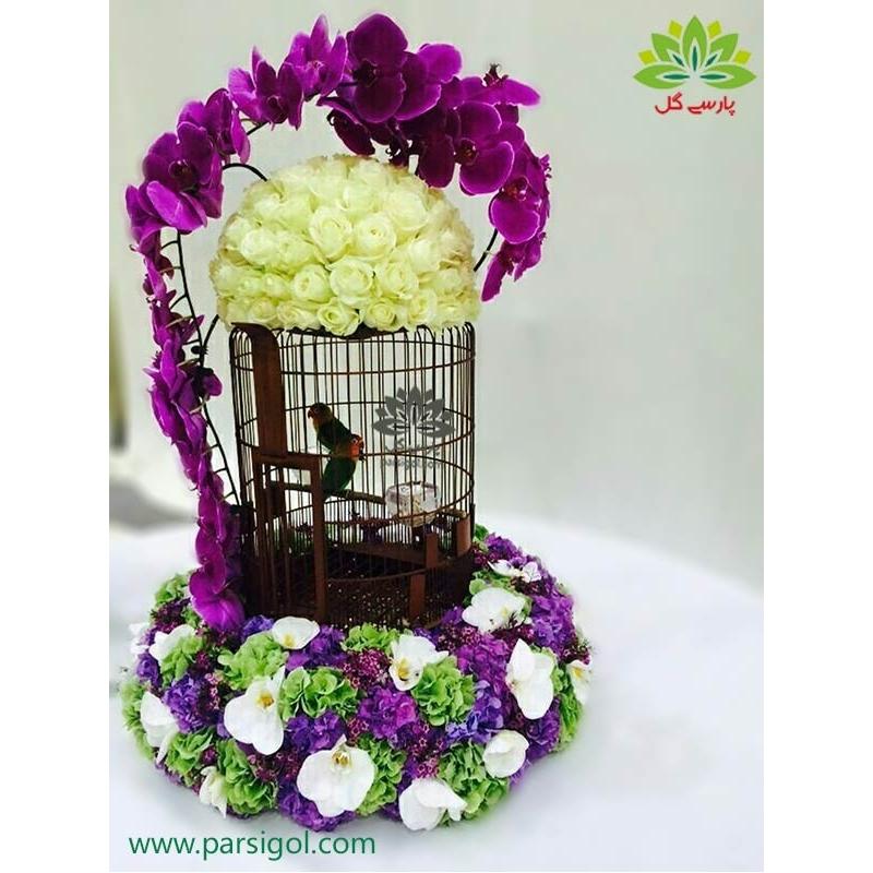 سبد گل یونیک قفس مرغ عشق کد DF06502
