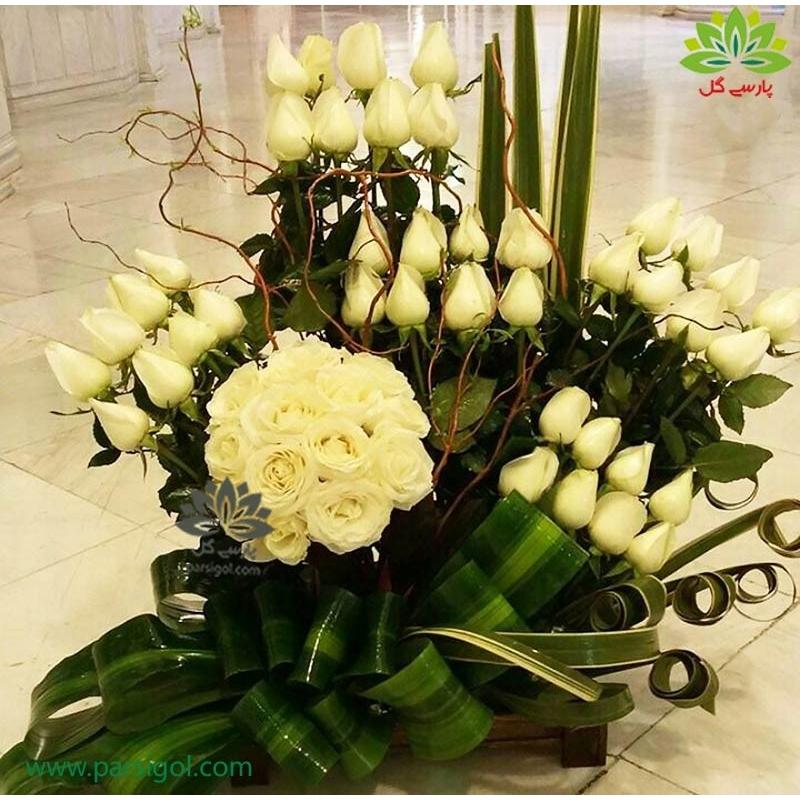 سبد گل کلاسیک و مدرن رز نباتی کد DF07002