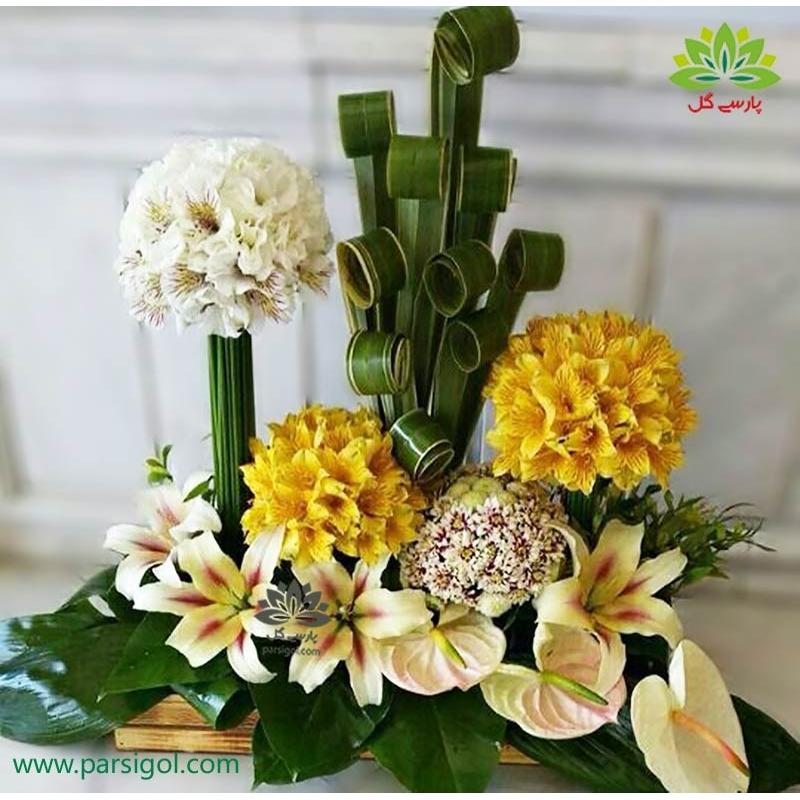 سبد گل فانتزی آلسترومریا زرد و سفید کد DF07102
