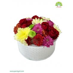 جعبه گل فانتزی داوودی رنگارنگ کد DF02105