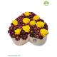 جعبه گل رمانتیک رز زرد طرح قلب کد DF02305
