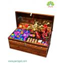 جعبه گل صندوقچه چوبی رز رنگین کمان کد DF03105