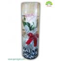 باکس گل کریستال (شیشه ای) رز لب صورتی کدDF03905