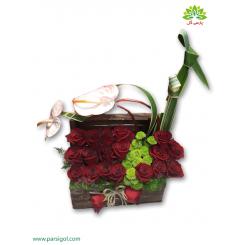 جعبه گل چوبی رز عاشقانه کد DF04505