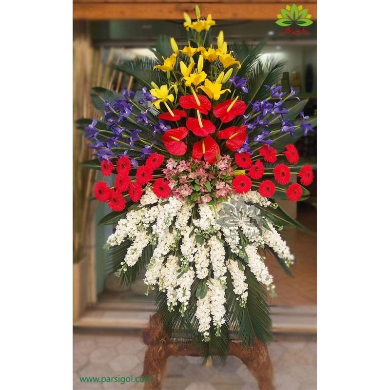 تاج گل تبریک یک طبقه زنبق کد DF00201