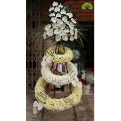 تاج گل تبریک و افتتاحیه مارپیچ سفید کد DF00401