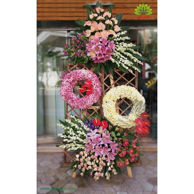 تاج گل تبریک پنجره ای پرگل کد DF00501