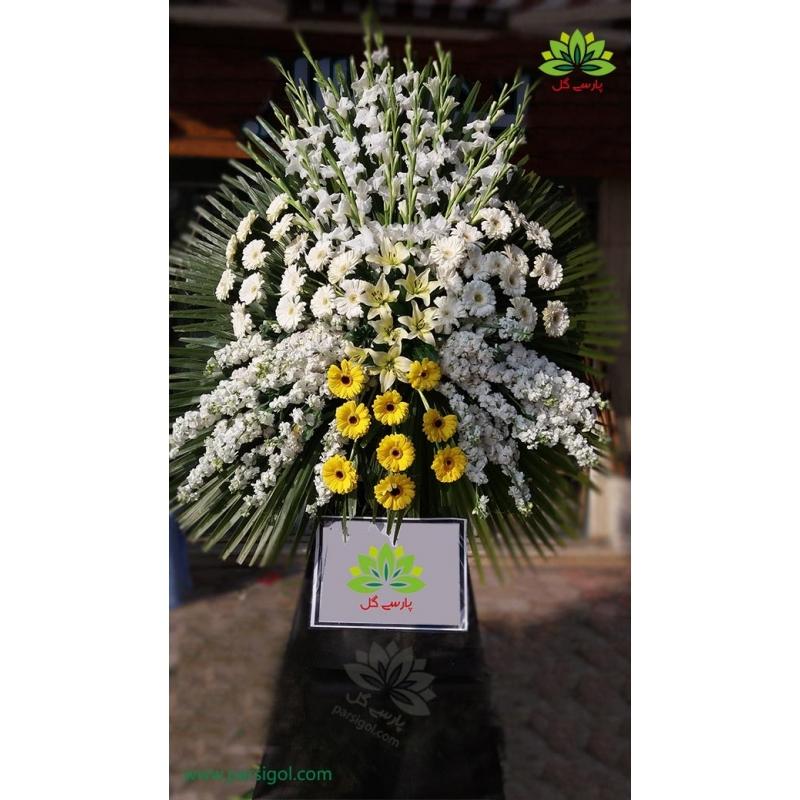 تاج گل ترحیم یک طبقه گلایول سفید کد DF01801