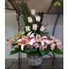 سبد گل تبریک تولد لیلیوم و رز کد DF00402