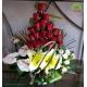 سبد گل نامزدی آنتوریوم و رز قرمز کد DF00502