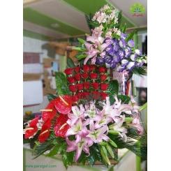 سبد گل عرض تبریک افتتاحیه دو طبقه کد DF00902