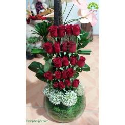 سبد گل تشکر و قدردانی رز یاقوتی کد DF01302