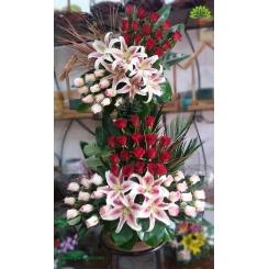سبد گل طبیعی دو طبقه رز هلندی کد DF01402