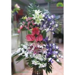سبد گل پایه دار دو طبقه لوکس کد DF01902