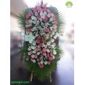 تاج گل ختم سفید و صورتی کد DF54301