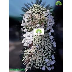 تاج گل ختم سه طبقه رز و آنتوریوم کد DF54701