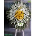 تاج گل عزاداری یک طبقه سفید و زرد کد DF55001