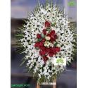 تاج گل ختم یک طبقه گلایول و آنتوریوم کد DF55401