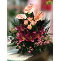 سبد گل طبیعی لیلیوم ارغوانی کد DF07502