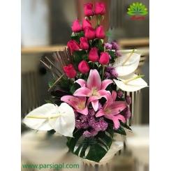سبد گل صورتی روز مادر کد DF07902