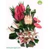 سبد گل کلاسیک رز و آنتوریوم سرخابی کد DF08302