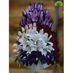 سبد گل تبریک سالگرد ازدواج لاکچری کد DF08502