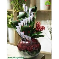 باکس گل شیشه ای با تزیین پول کد DF07105