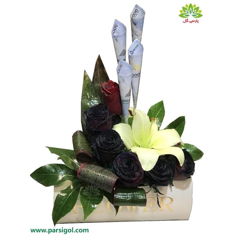 باکس گل تولد نوزاد با تزیین اسکناس کد DF07505