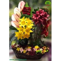 سبد گل چوبی لیلیوم و آنتوریوم لاکچری کد DF09202