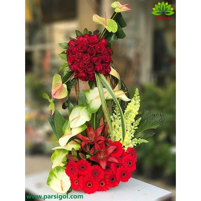 سبد گل رز قرمز و ژربرا خواستگاری کد DF09302