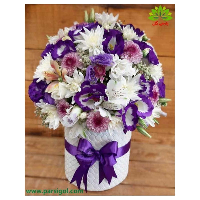 باکس گل بهاری لیسیانتوس بنفش کد DF07805