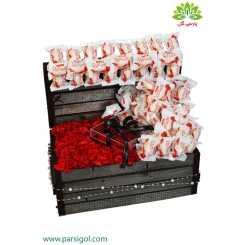 باکس گل میخک و شکلات ولنتاین کد DF08105