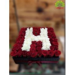 باکس گل هدیه رز حرف H کد DF08205