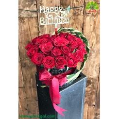 باکس گل تولد رز قرمز کد DF08605