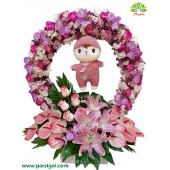 باکس گل تولد نوزاد دختر کد DF08805