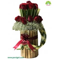 باکس گل استوانه چوبی کد DF08905