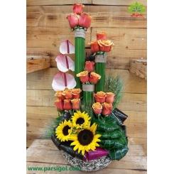 سبد گل رز و آفتابگردان کد DF11102