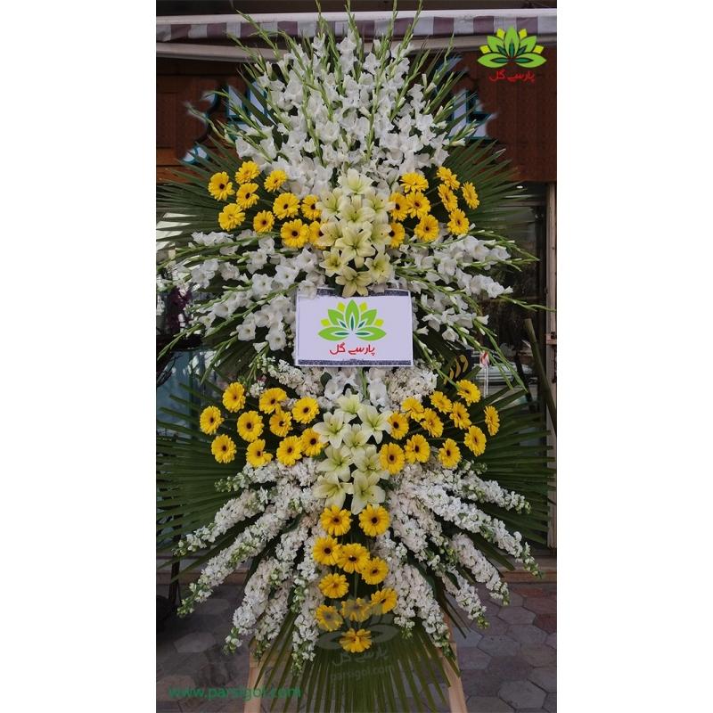 تاج گل ترحیم و ختم گلایول کد DF02701