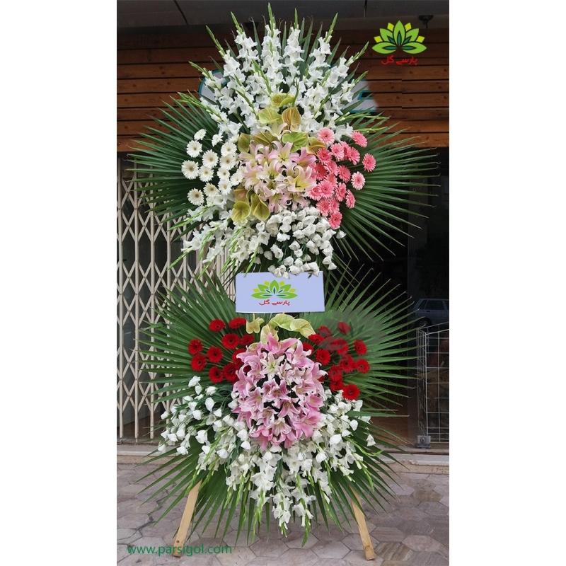 تاج گل تبریک رز سفید کد DF03101