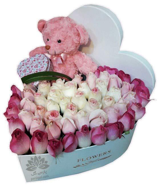 سفارش باکس گل ولنتاین، گل و باکس گل ولنتاین طرح قلب