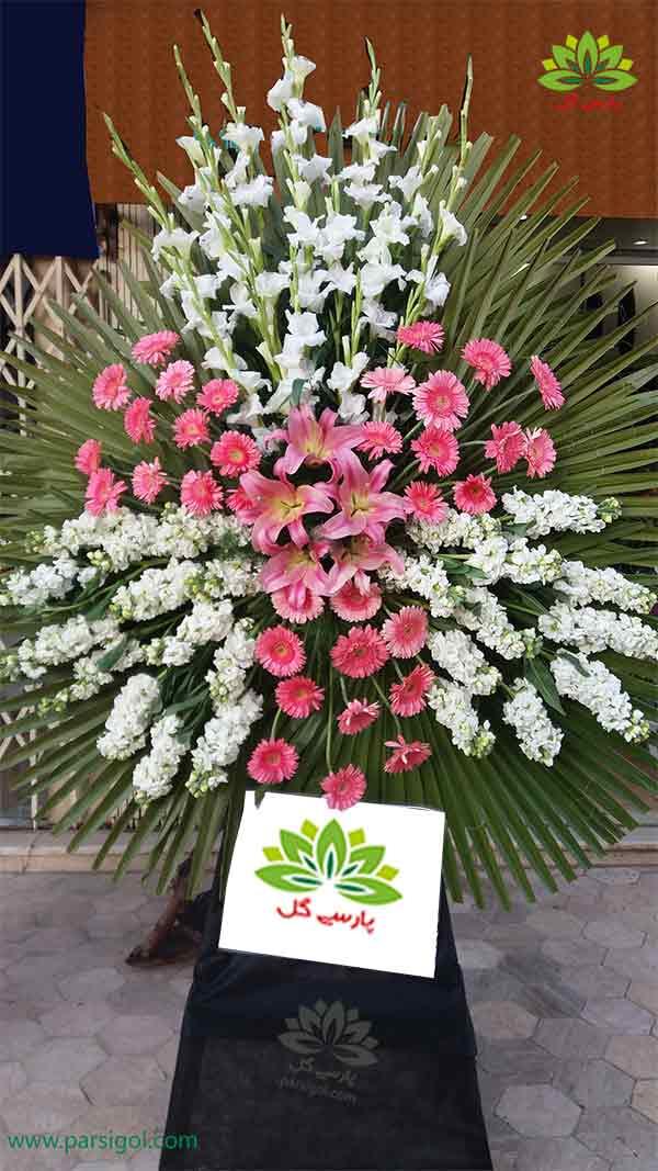 سفارش آنلاین تاج گل ختم و فاتحه ارزان قیمت از خارج کشور، انواع تاج گل یک طبقه با گل گلایول
