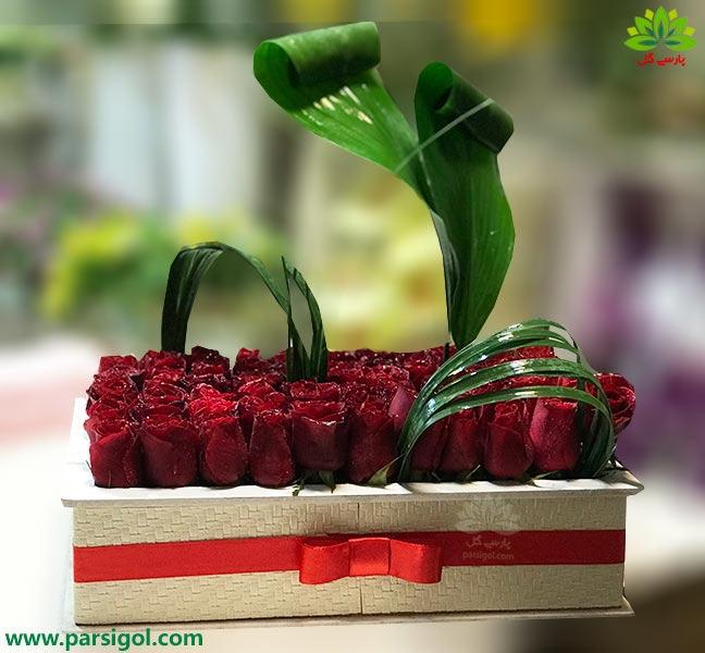 باکس گل خواستگاری رز قرمز هلندی
