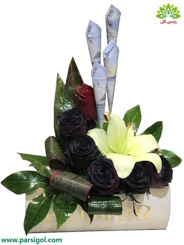 سفارش باکس گل با تزیین اسکناس و خرید باکس گل با تزیین پول و اسکناس